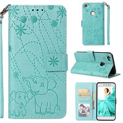 Embossing Fireworks Elephant Leather Wallet Case for Xiaomi Redmi Note 5A - Green