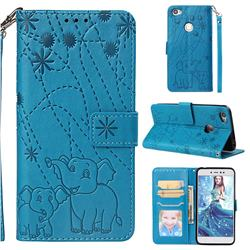 Embossing Fireworks Elephant Leather Wallet Case for Xiaomi Redmi Note 5A - Blue