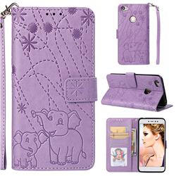 Embossing Fireworks Elephant Leather Wallet Case for Xiaomi Redmi Note 5A - Purple