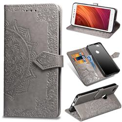 Embossing Imprint Mandala Flower Leather Wallet Case for Xiaomi Redmi Note 5A - Gray