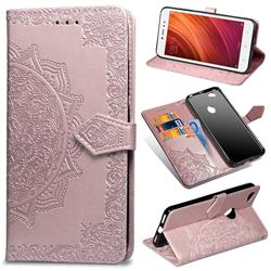 Embossing Imprint Mandala Flower Leather Wallet Case for Xiaomi Redmi Note 5A - Rose Gold