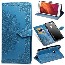 Embossing Imprint Mandala Flower Leather Wallet Case for Xiaomi Redmi Note 5A - Blue