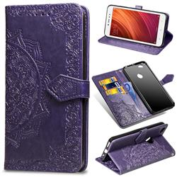 Embossing Imprint Mandala Flower Leather Wallet Case for Xiaomi Redmi Note 5A - Purple