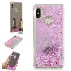 Glitter Sand Mirror Quicksand Dynamic Liquid Star TPU Case for Xiaomi Redmi Note 5 Pro - Cherry Pink