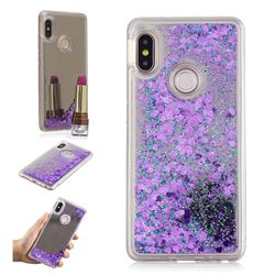 Glitter Sand Mirror Quicksand Dynamic Liquid Star TPU Case for Xiaomi Redmi Note 5 Pro - Purple