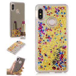 Glitter Sand Mirror Quicksand Dynamic Liquid Star TPU Case for Xiaomi Redmi Note 5 Pro - Yellow