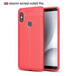 Luxury Auto Focus Litchi Texture Silicone TPU Back Cover for Xiaomi Redmi Note 5 Pro - Red