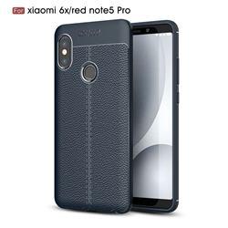 Luxury Auto Focus Litchi Texture Silicone TPU Back Cover for Xiaomi Redmi Note 5 Pro - Dark Blue