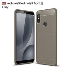 Luxury Carbon Fiber Brushed Wire Drawing Silicone TPU Back Cover for Xiaomi Redmi Note 5 Pro - Gray