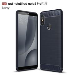 Luxury Carbon Fiber Brushed Wire Drawing Silicone TPU Back Cover for Xiaomi Redmi Note 5 Pro - Navy