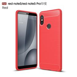 Luxury Carbon Fiber Brushed Wire Drawing Silicone TPU Back Cover for Xiaomi Redmi Note 5 Pro - Red