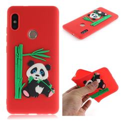 Panda Eating Bamboo Soft 3D Silicone Case for Xiaomi Redmi Note 5 Pro - Red