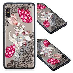 Tulip Lace Diamond Flower Soft TPU Back Cover for Xiaomi Redmi Note 5 Pro