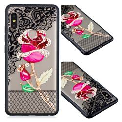 Rose Lace Diamond Flower Soft TPU Back Cover for Xiaomi Redmi Note 5 Pro