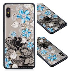 Lilac Lace Diamond Flower Soft TPU Back Cover for Xiaomi Redmi Note 5 Pro