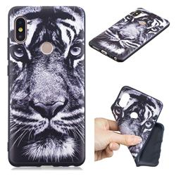 White Tiger 3D Embossed Relief Black TPU Cell Phone Back Cover for Xiaomi Redmi Note 5 Pro