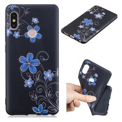 Little Blue Flowers 3D Embossed Relief Black TPU Cell Phone Back Cover for Xiaomi Redmi Note 5 Pro