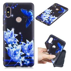 Blue Butterfly 3D Embossed Relief Black TPU Cell Phone Back Cover for Xiaomi Redmi Note 5 Pro