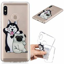 Selfie Dog Clear Varnish Soft Phone Back Cover for Xiaomi Redmi Note 5 Pro