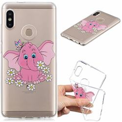 Tiny Pink Elephant Clear Varnish Soft Phone Back Cover for Xiaomi Redmi Note 5 Pro