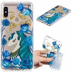 Blue Flower Unicorn Clear Varnish Soft Phone Back Cover for Xiaomi Redmi Note 5 Pro