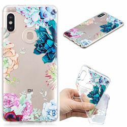 Gem Flower Clear Varnish Soft Phone Back Cover for Xiaomi Redmi Note 5 Pro