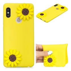 Yellow Sunflower Soft 3D Silicone Case for Xiaomi Redmi Note 5 Pro