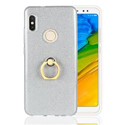 Luxury Soft TPU Glitter Back Ring Cover with 360 Rotate Finger Holder Buckle for Xiaomi Redmi Note 5 Pro - White
