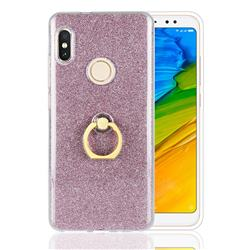 Luxury Soft TPU Glitter Back Ring Cover with 360 Rotate Finger Holder Buckle for Xiaomi Redmi Note 5 Pro - Pink
