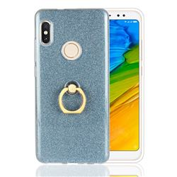 Luxury Soft TPU Glitter Back Ring Cover with 360 Rotate Finger Holder Buckle for Xiaomi Redmi Note 5 Pro - Blue
