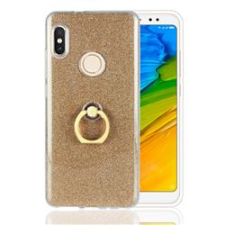 Luxury Soft TPU Glitter Back Ring Cover with 360 Rotate Finger Holder Buckle for Xiaomi Redmi Note 5 Pro - Golden