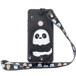 Cute Panda Neck Lanyard Zipper Wallet Silicone Case for Xiaomi Redmi Note 5 Pro