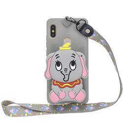 Gray Elephant Neck Lanyard Zipper Wallet Silicone Case for Xiaomi Redmi Note 5 Pro