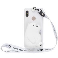 White Polar Bear Neck Lanyard Zipper Wallet Silicone Case for Xiaomi Redmi Note 5 Pro