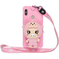 Pink Pig Neck Lanyard Zipper Wallet Silicone Case for Xiaomi Redmi Note 5 Pro