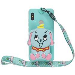 Blue Elephant Neck Lanyard Zipper Wallet Silicone Case for Xiaomi Redmi Note 5 Pro