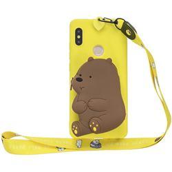 Yellow Bear Neck Lanyard Zipper Wallet Silicone Case for Xiaomi Redmi Note 5 Pro