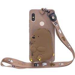 Brown Bear Neck Lanyard Zipper Wallet Silicone Case for Xiaomi Redmi Note 5 Pro