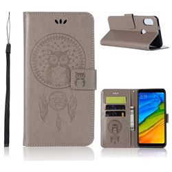 Intricate Embossing Owl Campanula Leather Wallet Case for Xiaomi Redmi Note 5 Pro - Grey