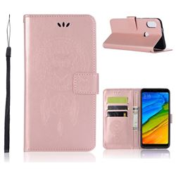 Intricate Embossing Owl Campanula Leather Wallet Case for Xiaomi Redmi Note 5 Pro - Rose Gold