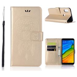Intricate Embossing Owl Campanula Leather Wallet Case for Xiaomi Redmi Note 5 Pro - Champagne
