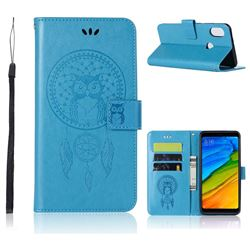 Intricate Embossing Owl Campanula Leather Wallet Case for Xiaomi Redmi Note 5 Pro - Blue