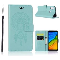 Intricate Embossing Owl Campanula Leather Wallet Case for Xiaomi Redmi Note 5 Pro - Green