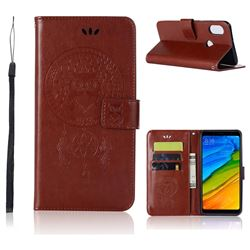 Intricate Embossing Owl Campanula Leather Wallet Case for Xiaomi Redmi Note 5 Pro - Brown