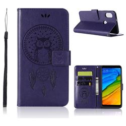 Intricate Embossing Owl Campanula Leather Wallet Case for Xiaomi Redmi Note 5 Pro - Purple