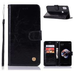Luxury Retro Leather Wallet Case for Xiaomi Redmi Note 5 Pro - Black