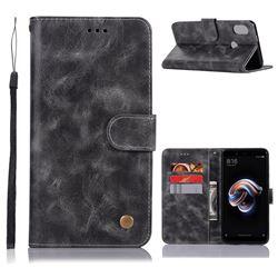 Luxury Retro Leather Wallet Case for Xiaomi Redmi Note 5 Pro - Gray