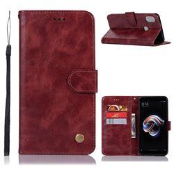 Luxury Retro Leather Wallet Case for Xiaomi Redmi Note 5 Pro - Wine Red