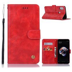 Luxury Retro Leather Wallet Case for Xiaomi Redmi Note 5 Pro - Red
