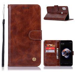 Luxury Retro Leather Wallet Case for Xiaomi Redmi Note 5 Pro - Brown